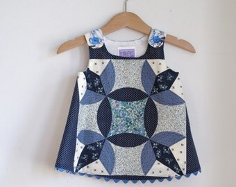 Blue & White Patchwork Quilt Baby Dress with Happy Teapots | Size 3 - 6 Month | New Baby Gift | Baby Shower Gift | Quilt Dress | Girls Dress