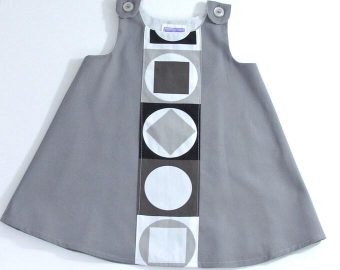 Minimalist Mod Newborn Dress, Baby Dress, Toddler Dress, Girls' Dress, Modern Hipster Girls' Dress, Gray Geometric Dress, Size Newborn to 4T