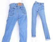 """Size 4 5 Levi's 560 High Waisted Mom Jeans - Vintage 90s Stone Washed Medium Blue Women's Loose Fit Women's Jeans - 27"""" Waist"""