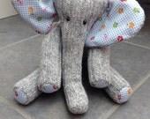 Wool Sock Elephant, Light Blue, Handmade by Catherine L Owen