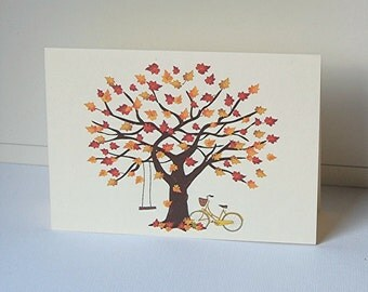 Fall Tree Note Cards, Blank Note Cards Set, Tree Note Cards, Bicycle Cards, Greeting Cards, Thank You Cards, All Occasion Cards, Note Cards
