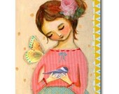 Original Mixed Media Collage painting Little BIRD sweet girl with butterfly and roses artwork by Canadian Artist TASCHA