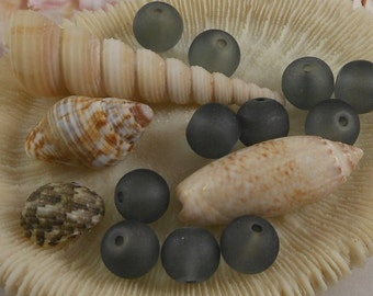 10mm Sea Glass Beads Smooth Round Frosted Matte Charcoal Grey (Qty 8) PH-SG10-CG