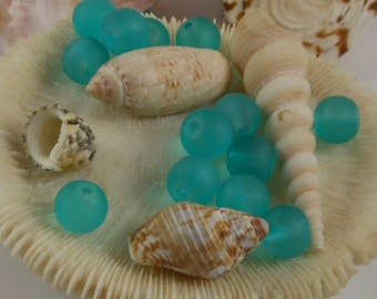 10mm Sea Glass Beads Smooth Round Frosted Matte Light Teal (Qty 8) PH-SG10-LT