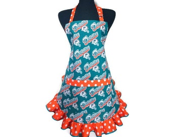 Miami Dolphins Apron for women, Retro Style Ruffle, Fully Adjustable with Pocket, Flirty Football Girl