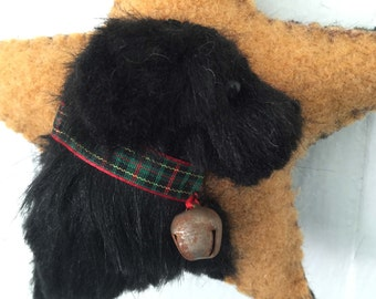 Newfie Dog Breed Ornament, Newfoundland, Vintage Wool & Faux Fur Star, Christmas Tree, Wall / Door Hanger, Bowl Filler