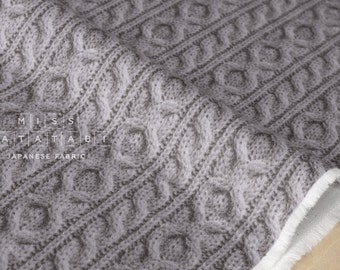Japanese Fabric With Reality - faux cable knit double gauze - grey - 50cm