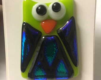 Handcrafted Fused Glass Owl Pin~Green