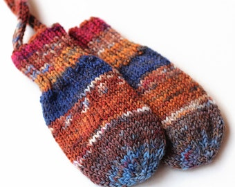 Baby Mittens. Corded Baby Mitts No Thumbs. Infant Hand Warmers. Striped Wool Winter Mittens With String. Baby Boy Mittens