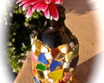 Beer Bottle Mosaic Vase