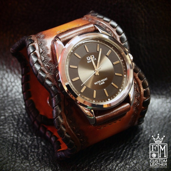 Leather Cuff Watch sunburst brown fade Traditional American ROCKSTAR Bracelet made for YOU in NYC by Freddie Matara