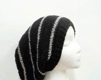 Knitted slouch hat black sparkle oversized beanie  5230