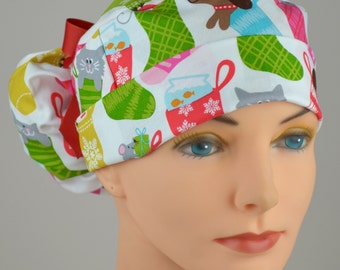 Christmas Womens Perfect Fit Ponytail Surgical Scrub Cap - Christmas Stockings