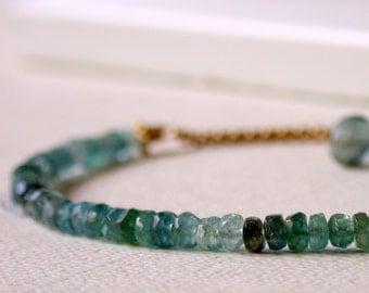 Moss Aquamarine Bracelet. Aquamarine Row Bracelet. Gemstone Wrap Bracelet. Simple Gemstone Bracelet. Stackable Bracelet. March Birthstone.