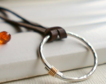 Organic Hoop Necklace on leather. Handcrafted. Artisan. Necklace. Jewelry.