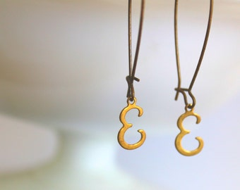 Initial Earrings, letter E, tiny letter earrings, gold letter jewelry, gold initial charm, vintage brass charm, Gifts under 15