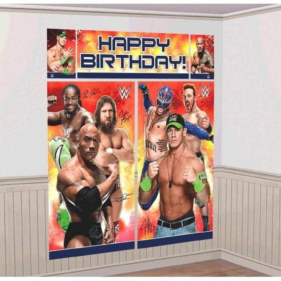 WWE Happy Birthday Scene Setter Banner/Wall Decoration Kit-NEW
