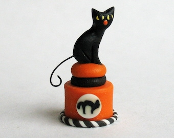 Handmade Miniature Halloween Black Cat Secret Box by C. Rohal