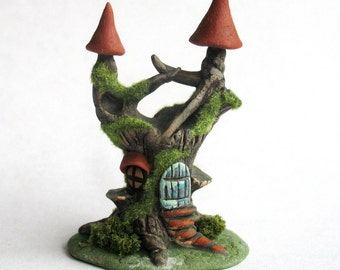 Miniature  Woodland Fairy Tree Stump House OOAK by C. Rohal