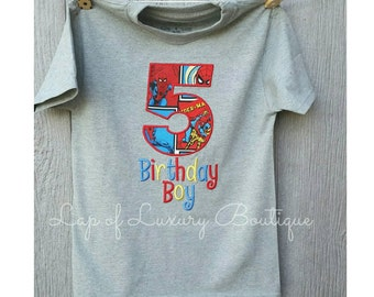 Custom boys girls super hero spiderman birthday number embroidery shirt shirt or long sleeves personalized with name or saying