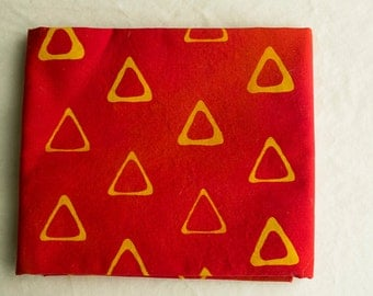 Triangle Tribe Hand Dyed and Patterned cotton Fabric/ Marigold and Red/ Half Yard