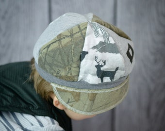 Child Jax Hat in camoflauge, deer lightweight hat, child hunting cap, boy hat in grey and greens, camo hat for child, I heart Montana hat