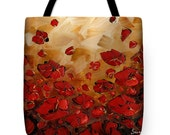 Designer Art Tote Bag - brown and red poppy landscape print, abstract floral statement fashion tote from Susanna's art