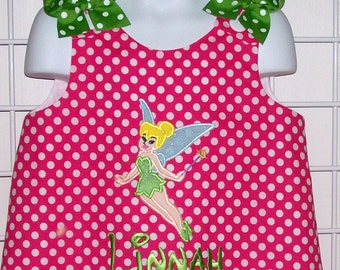 Hot Pink Dot Tinkerbell Applique Monogram Dress with Lime Dot Ruffle - Birthday Party - Fairy Dress