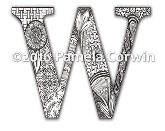 W Monogram Coloring Page