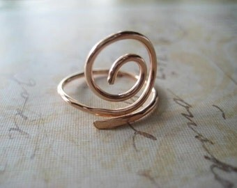 Swirl Ring, Rose Gold, Pink Gold, Hand Forged Ring, Pink Gold Swirl, Adjustable Hand Formed, Womens Jewelry, Stacking Ring, Adjustable Ring