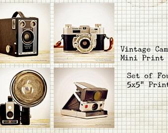 Vintage Camera Photo Set of 4 / 5x5 Print Set / Antique Camera Picture / Kodak / Polaroid / Vintage Industrial Decor / Free Shipping in US