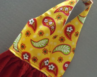 Hanging Kitchen Dish Towel Touch of Paisley Fabric