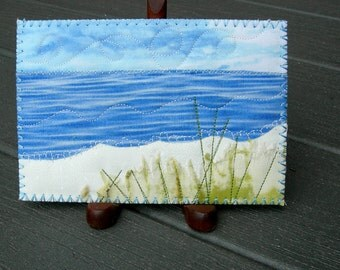 Landscape Quilted Postcard, Fabric Postcard, Ocean, Beach, Postcard,Fiber Art, Landscape Art, Greeting Cards,  Spring and Summer Vacation