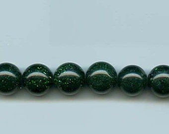 GREEN Goldstone round beads 8 MM (9)