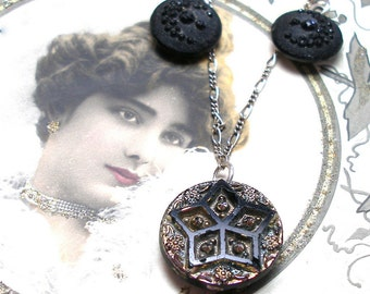 STARS Antique BUTTON necklace, Victorian Moon & stars, on sterling silver, button jewellery.