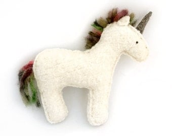 White Unicorn - Recycled Wool Sweater Plush Toy