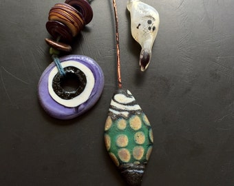 Handmade lampwork glass bead pendant talisman assortment of beads, headpins and toggle by lori lochner jewelry making textile design supplie