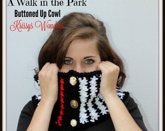 Crochet Cowl Pattern - High Fashion Crochet Pattern - Hounds Tooth Check - KrissysWonders