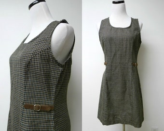 My Michelle . 90s black and brown plaid sleeveless dress . size 11 / 12 . bust 36""