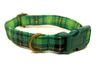 Irish Plaid - Green Yellow Plaid St Patricks Day Organic Cotton CAT Collar - All Antique Brass Hardware