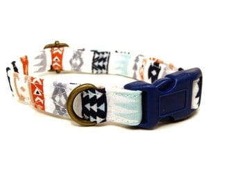 Sacred Ground - Mint Coral Navy Blue Gray Bohemian Southwestern Organic Cotton CAT Collar Breakaway Safety - All Antique Brass Hardware