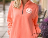 Coral Personalized 1/4 Zip Sweatshirt by Charles River - Monogrammed crosswinds pullover, Bridesmaids sweaters, womens half zip sweatshirts