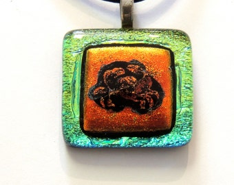 Dichroic Glass Pendant with cancer zodiac sign