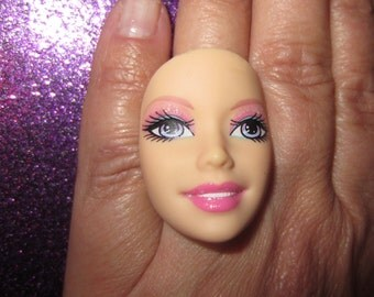 Barbie Doll Face - upcycled adjustable ring c