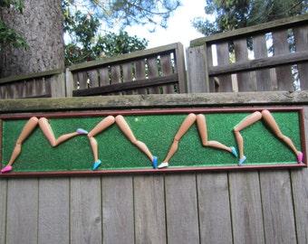 Finish Line!  - upcycled framed assemblage