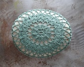 Crocheted Lace Stone, Fern Green, Handmade, Lace Stone, Crocheted, Table Decorations, Home Decor, Monicaj, Oval