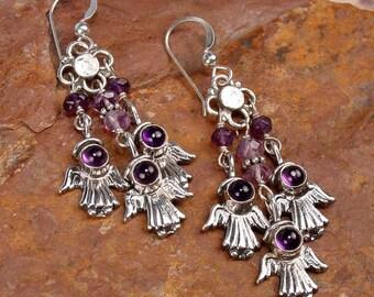 GUARDIAN ANGELS - Stylized Angel Motif Sterling Silver Earrings With Amethyst