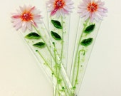 Fused Glass Plant Stakes and Garden Stakes (Pink Flower)