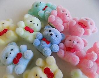 Flocked Bears Pastel Colors Set of 13 Kawaii Made in Taiwan