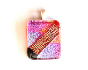 Dichroic Glass Pendant  - Fused Glass Pendant - Magenta Blue Green Pendant - Melted Glass Pendant - Bold Pendant - Sparkle Pendant